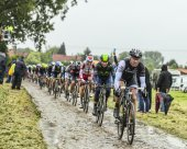 The Cyclist Jens Voigt on a Cobbled Road - Tour de France 2014 — Stock Photo