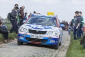 The Car of FDJ.fr Team on the Roads of Paris Roubaix Cycling Rac — Stock Photo