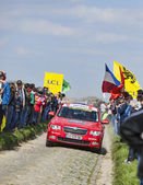 Official Red Car on the Roads of Paris Roubaix Cycling Race — Stock Photo