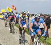 Group of Cyclists- Paris Roubaix 2014 — Stock Photo