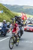 The Cyclist Rein Taaramae on Col de Peyresourde - Tour de France — Stock Photo
