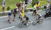 Two French Cyclists at Col de Peyresourde - Tour de France 2014 — Stock Photo