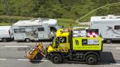 Technical Truck on the Road of Le Tour de France 2014 — Stock Photo