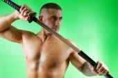 Der Samurai mit dem Schwert — Stockfoto