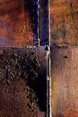 Rusty metal con pintura vieja y envejecido por el tiempo — Foto de Stock