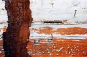 Gammal Rostig metall staket och odlade gamla i tid — Stockfoto