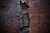 Old rusty metal with a worn and scratched paint — Stock Photo