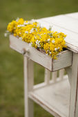 Old vintage table and flowers — Foto de Stock