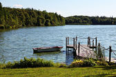 Pond with Boat Dock — Stock Photo