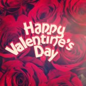 Happy Valentines Day sign on roses — Stock Photo