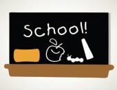 Texto da escola no quadro-negro — Vetor de Stock