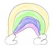 Childlike drawing of rainbow — Stock Vector
