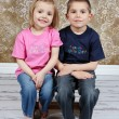Little brother and Sister in studio — Stock Photo #53162219