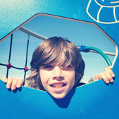 Boy playing at the park — Stock Photo