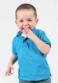 Baby boy posing for camera — Stock Photo