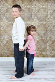 Little brother and Sister in studio — Stock Photo