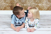 Adorable little brother and Sister — Stockfoto