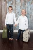 Cute little boys holding suitcase — Stock Photo