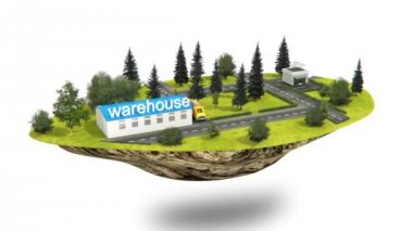 Transport lorry animation from warehouse to client — Stock Video