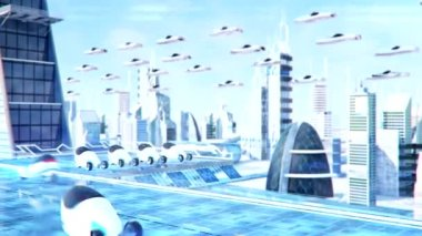 Futuristic sci-fi city street view, 3d digitally rendered animation — Stock Video
