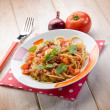 Spaghetti with fresh tomato red onion and hot chili pepper — Stock Photo #51865187
