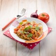 Spaghetti with fresh tomato red onion and hot chili pepper — Stock Photo #51865611