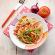 Spaghetti with fresh tomato red onion and hot chili pepper — Stock Photo #51866149