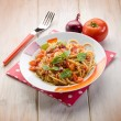 Spaghetti with fresh tomato red onion and hot chili pepper — Stock Photo #51866279