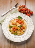 Escalope with tomatoes — Stock Photo
