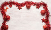 Red christmas decoration frame — Стоковое фото