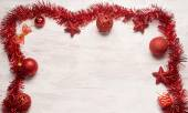 Red christmas decoration frame — 图库照片