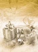 Złote tło boże narodzenie — Zdjęcie stockowe