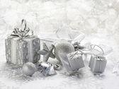 Efeito de desfoque de fundo de Natal prata com — Fotografia Stock