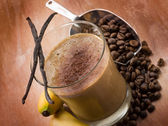 Drink smoothie with coffee banana and vanilla — Stock Photo