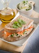 Healthy sandwich with carrot cheese and parsley — Stock Photo