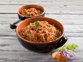 Spaghetti with  soy ragout, vegetarian pasta — Stock Photo