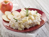 Risotto with apple, healthy food — Stock Photo