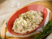 Risotto with gold leaf — Stock Photo