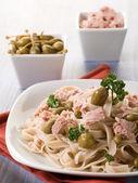 Tagliatelle with tuna and capers,healthy pasta — Stock Photo