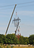 Top Changing of an Electrical Pylon — Stockfoto