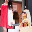 Two happy young fashion women with shopping bags — Stock Photo #52251539