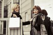 Two happy young fashion women with shopping bags — Stock fotografie