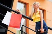 Alışveriş torbaları ile mutlu bir genç kadın — Stok fotoğraf