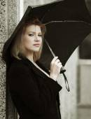 Fashion woman with umbrella in the rain — Foto de Stock