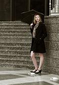 Fashion woman with umbrella in the rain — Stock Photo