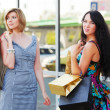 Two young fashion women with shopping bags — Stock Photo #58163769