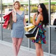 Two young fashion women with shopping bags — Stock Photo #58163777