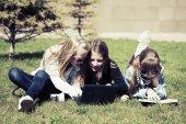 Teenage school girls in a school campus — Stock Photo