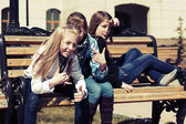Group of school girls in a campus  — Stock Photo