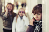 Teenage girls in conflict at the school building  — Stock Photo